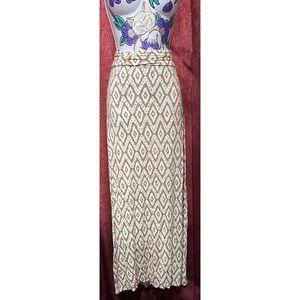 Max Studio Taupe Tribal Maxi Skirt
